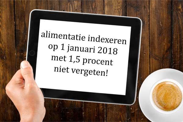 Alimentatie indexatie voor 2018 wordt 1,5 procent